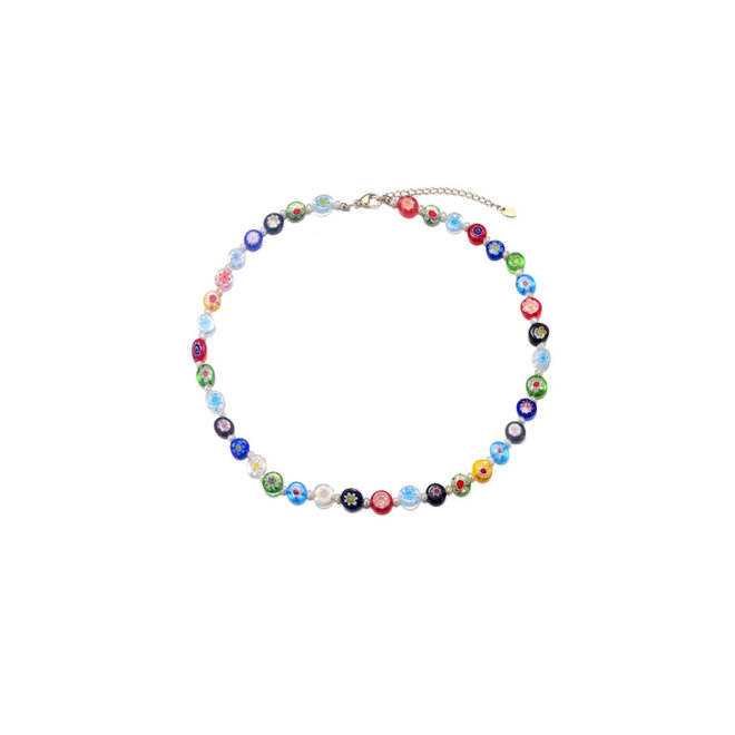 Amelia Necklace Freshwater Pearls & Murano Glass