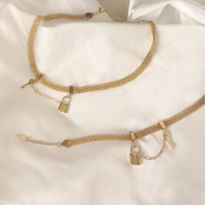 Lock Gold Necklace Stainless Steel Gold-Plated