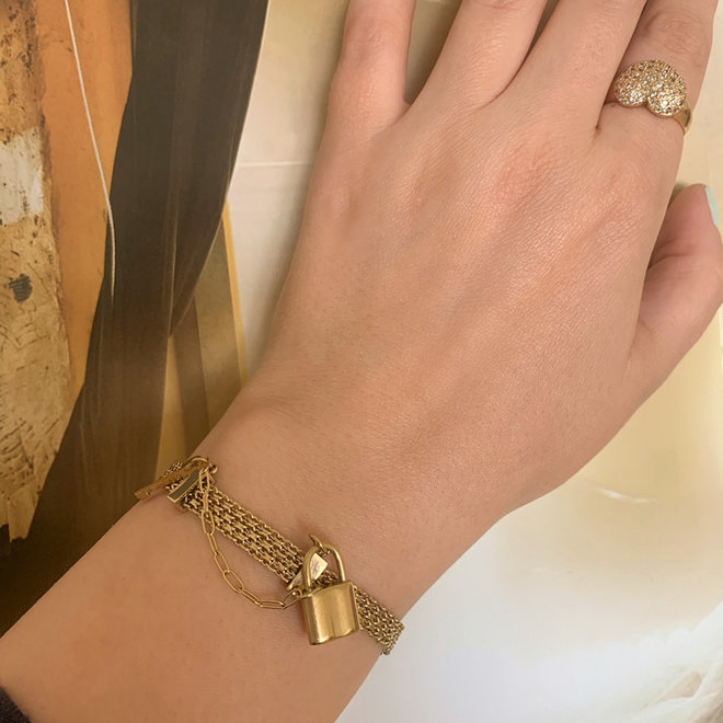 Lock Gold Armband  Roestvrij Staal Verguld