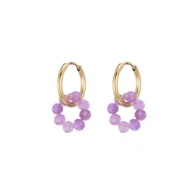Small Flower Earrings Semi Precious Stone & Stainless Steel
