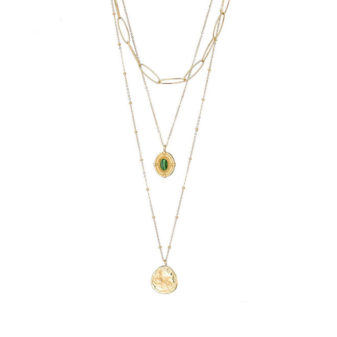 Daisy Layered Ketting Roestvrij Staal Goud Verguld