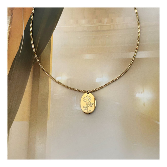 Rose Necklace Gold-plated