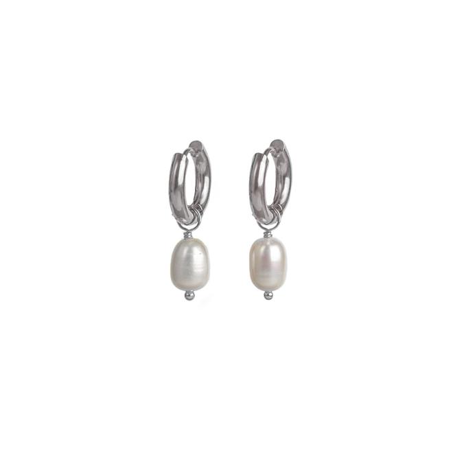 Pearl Earrings Stainless Steel Silver