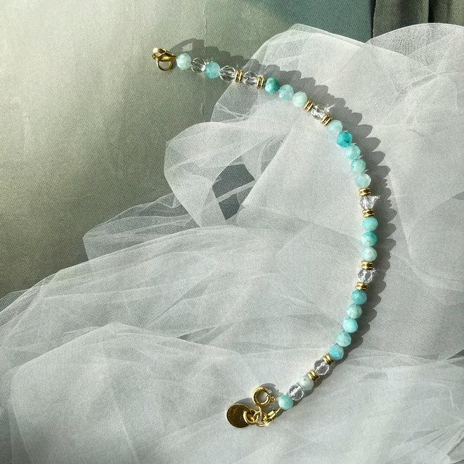 Amazonite Gemstone Bracelet Silver 925 Gold-plated