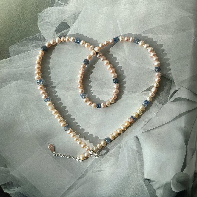 Freshwater Pearls & Kyanite Gemstone Necklace Silver 925