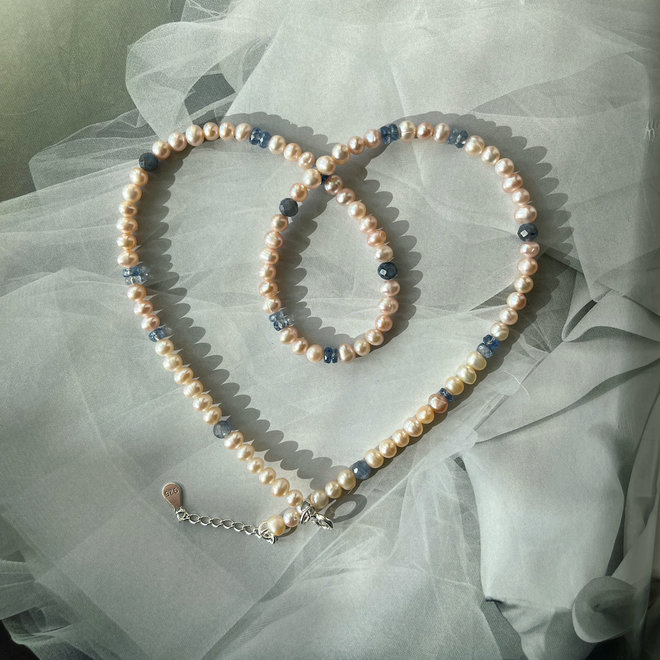 Pearl Kyanite Gemstone Necklace
