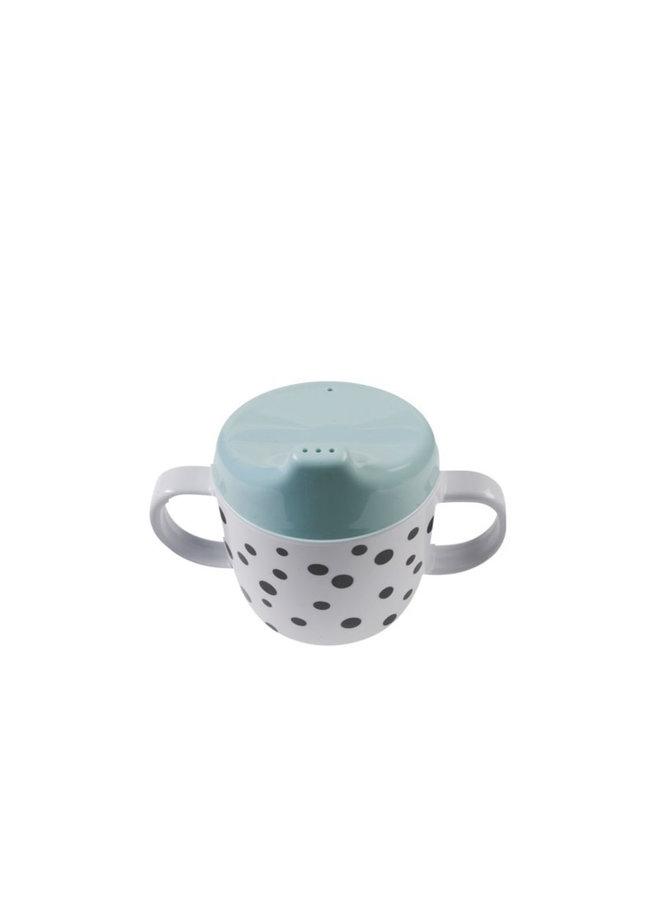 2-handle spout cup, Happy dots, blue