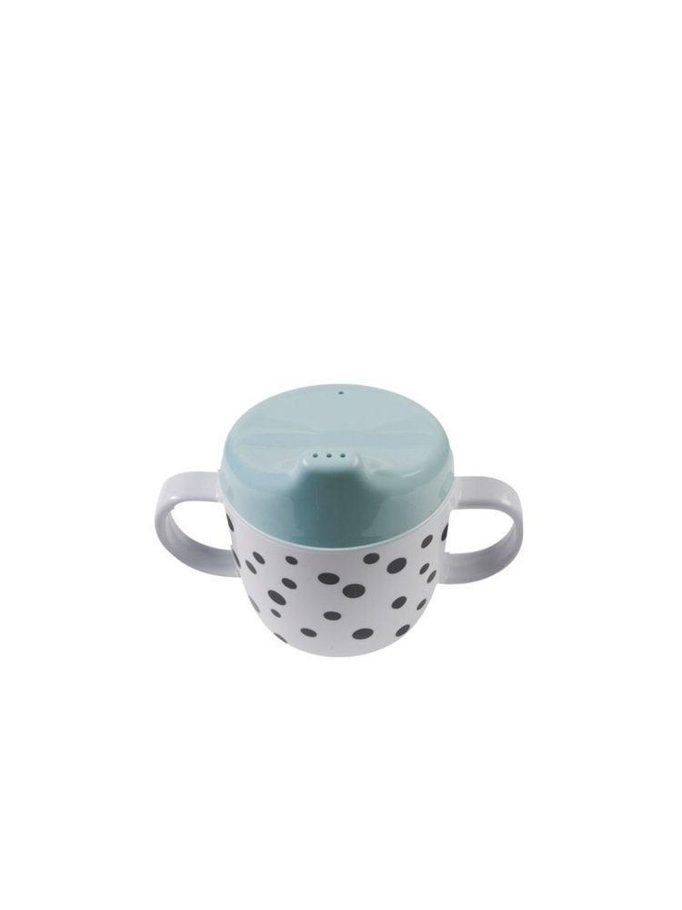 Done by Deer 2-handle spout cup, Happy dots, blue