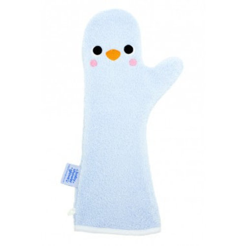 Invented4kids Baby shower glove - Blauw - Penguin
