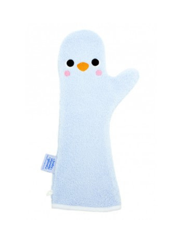 Invented4kids Baby shower glove - Blauw - Penguin