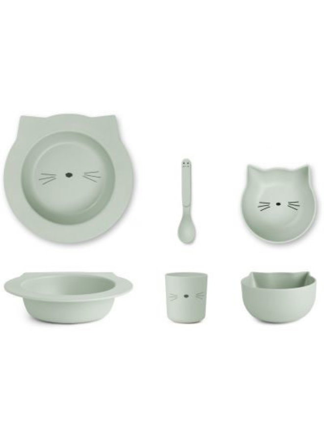 Barbara Bamboo Baby Set - Cat Dusty Mint