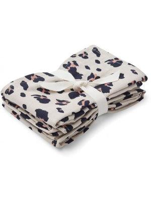 Liewood Hannah muslin cloth print 2 pack - Leo beige beauty