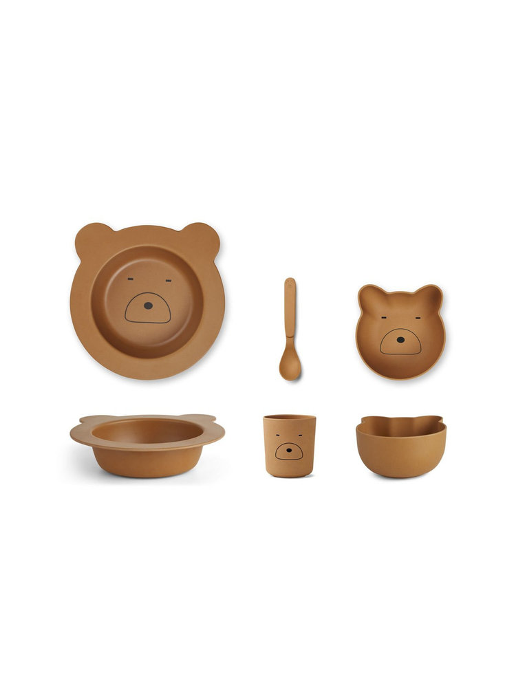 Liewood Barbara Bamboo Baby Set - Mr Bear Mustard