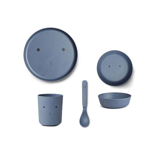 Liewood Bamboo Tableware Box Set - Rabbit blue wave