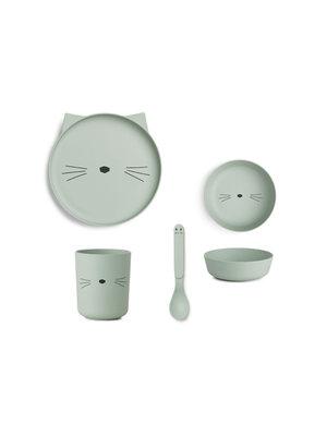 Liewood Bamboo Tableware Box Set - Cat Dusty Mint