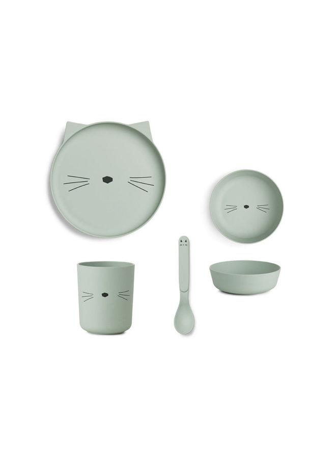 Bamboo Tableware Box Set - Cat Dusty Mint
