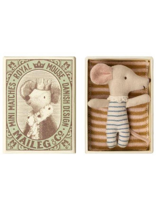 Maileg - Baby mouse, Sleepy/wakey in box - Boy