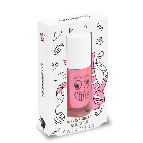 Nailmatic Water-based nail polish for kids - Kitty - candy pink glitter
