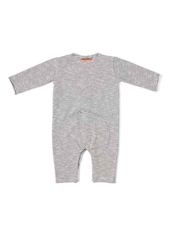 Butt Onesie - Black White Stripe - Basic