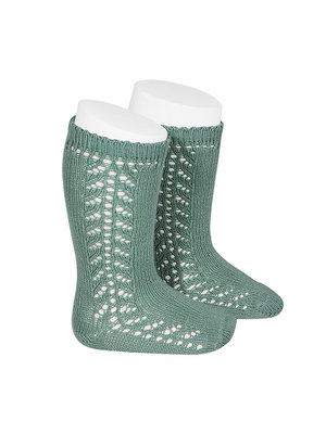 Condor Side Openwork Knee-High Warm Cotton Socks - Jade, 704