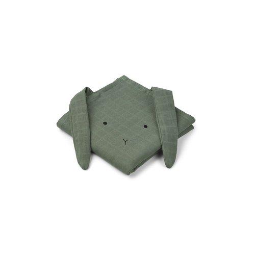 Liewood Hannah / Muslin Cloth / Rabbit / 2-pack - Rabbit Faune Green