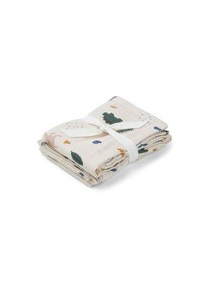 Liewood Hannah / Muslin Cloth / Print / 2-pack - Dino Mix