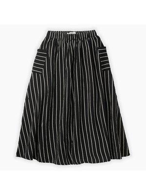 Sproet & Sprout Woven Long Skirt Stripe - Black Stripe