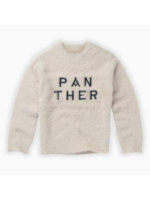 Sproet & Sprout Sweater Panther Text - Milk