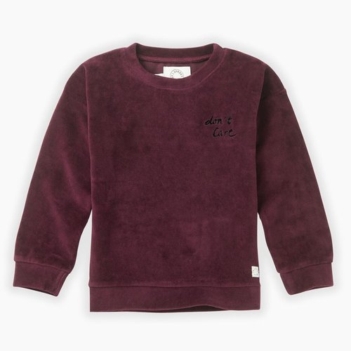 Sproet & Sprout Sweatshirt Velvet Don't Care - Burgundy