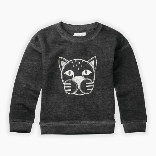 Sproet & Sprout Sweatshirt Panther Head - Washed Black
