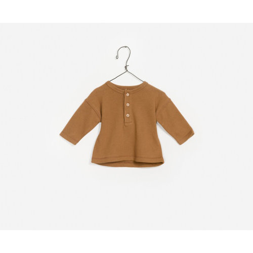 Play Up Jersey Sweater - Caramel Button Down