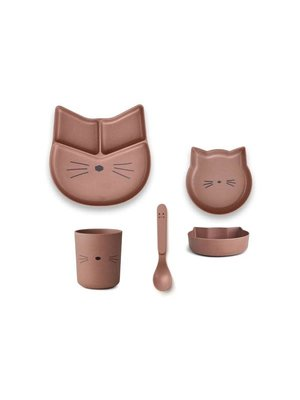 Liewood Jules Junior Bamboo Set - Cat Dark Rose