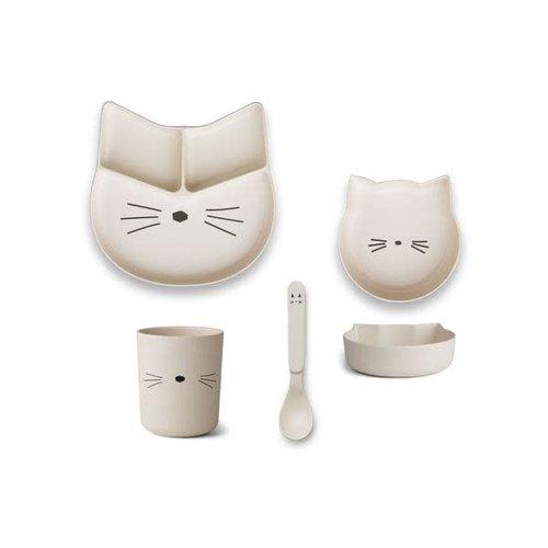 Liewood Jules Junior Bamboo Set - Cat Creme de la Creme