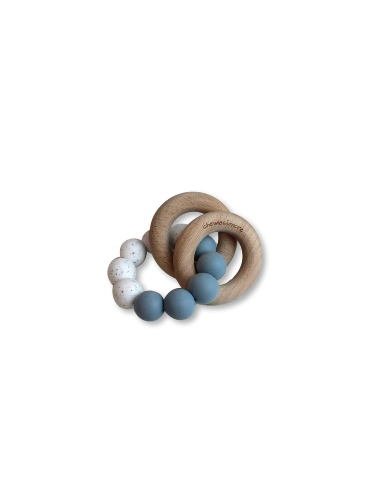 Chewies and More Basic Rattle - Dusty Blue & White Gritt
