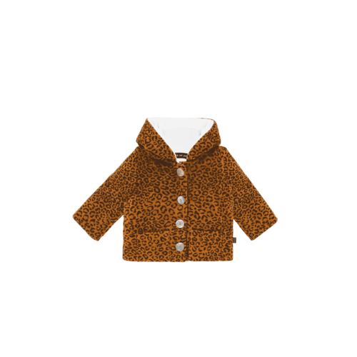 House of Jamie Bowtie Hooded Jacket - Golden Brown Leopard