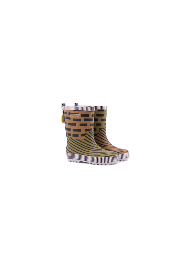 Rain boots - special edition - sugar brown + madame olive + lobby purple
