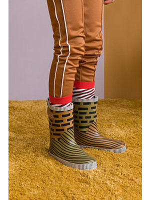 Sticky Lemon Rain boots - special edition - sugar brown + madame olive + lobby purple