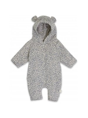 Konges Sløjd Newborn Onesie With Hood - Blue Blossom Mist