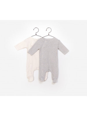 Play Up Pack 2 Rib Jumpsuit - Stripe / Sheep