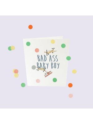 The Gift Label Confetti Cards Baby - Bad ass baby boy