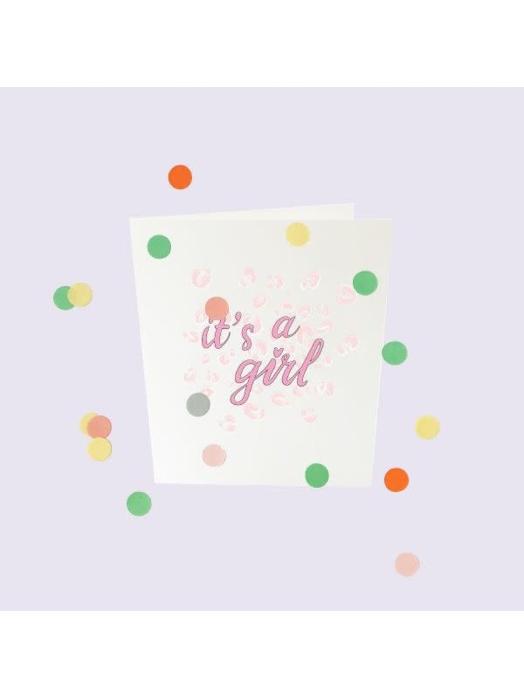 The Gift Label Confetti Cards Baby - It's a girl
