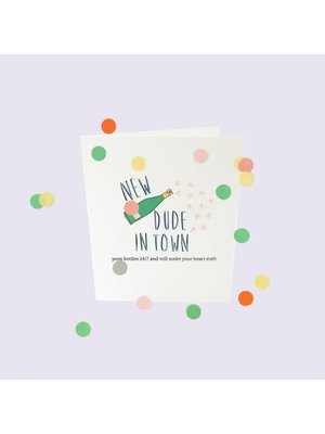 The Gift Label Confetti Cards Baby - New dude in town