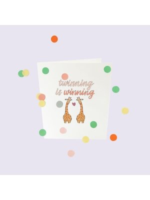 The Gift Label Confetti Cards Baby - Twinning is winning