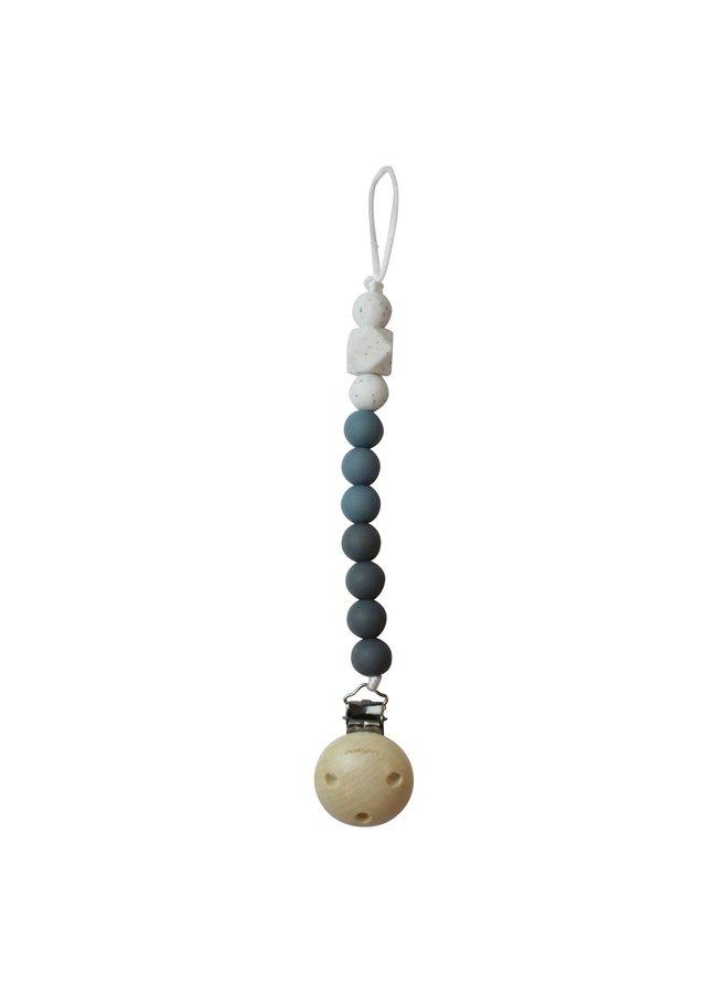 Chewie Clip Silicone Beads 3 Colours - Donker Grijs, Dusty bleu, Wit Gritt
