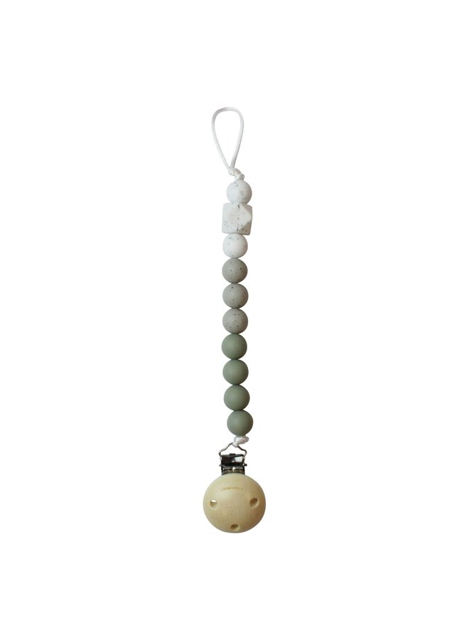 Chewie Clip Silicone Beads 3 Colours - Sage, Grey Gritt , Wit Gritt