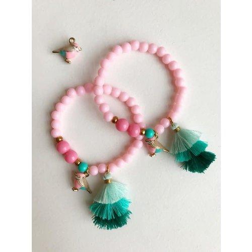 Bymelo Armband Roze Vogel