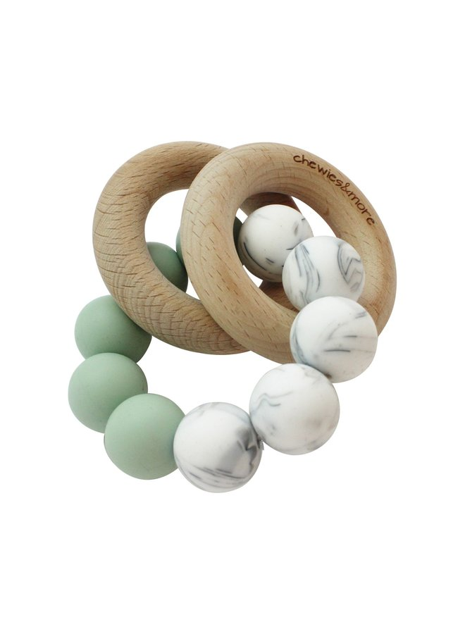 Basic Rattle - Deep Green & Marble