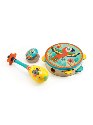 Djeco Set van 3 instrumenten - Tamboerijn, Sambabal & Castagnet - DJ06016