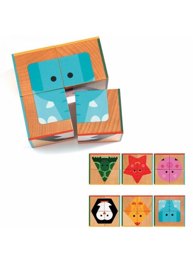 Djeco - 4 Houten Blokpuzzels - DJ06208