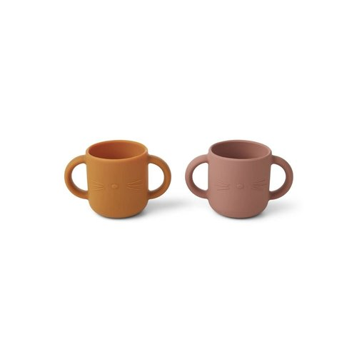 Liewood Gene Silicone Cup 2 Pack - Cat dark rose